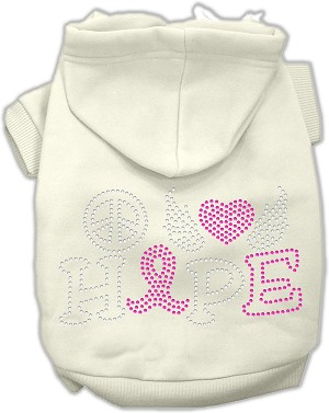 Peace Love Hope Breast Cancer Rhinestone Pet Hoodie Cream XXXL (20)
